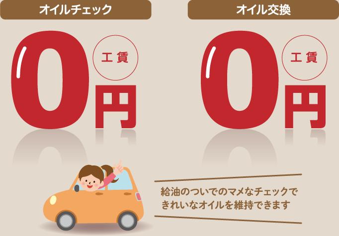 オイルチェック0円 オイル交換0円